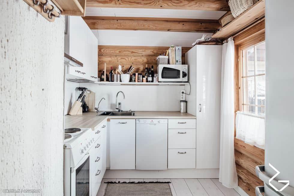 Myydään mökki Sipoossa: Keittiö on hyvin varusteltu. Siellä on sähköliesi, astianpesukone, jääkaappi ja mikroaaltouuni.